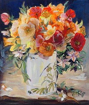 Poppies, clematis, and daffodils in porcelain vase. by Ryn Shell