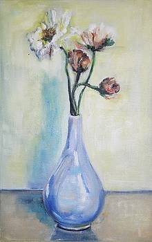 Poppies in a Blue Vase by Christel Roelandt