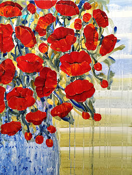 Poppies in Blue Vase by Diane Dean