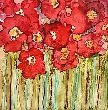 Poppies in Rain by Brenda Owen