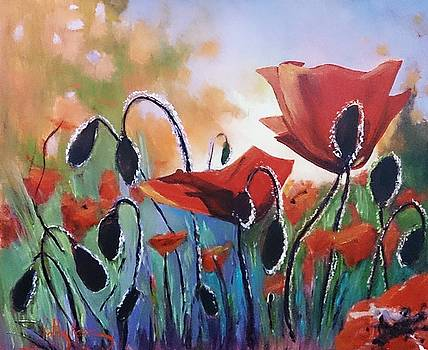 Poppies by Kathy  Karas