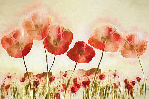 Poppies on Fire Watercolors by Debra and Dave Vanderlaan