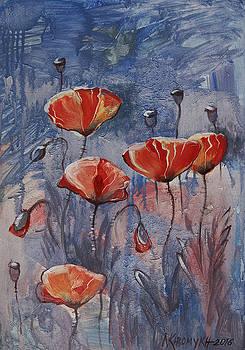 Poppies On The Dark by Khromykh Natalia
