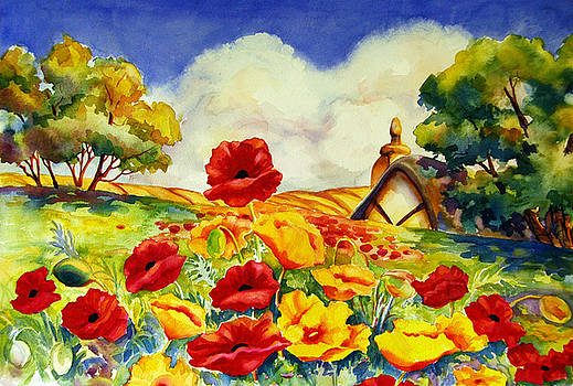 Peggy Wilson - Poppy Field with Cottage