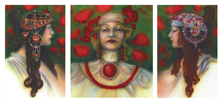 Poppy Portrait Tryptch by Wayne Pruse