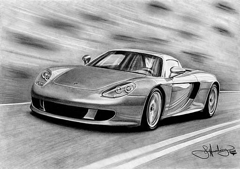 Porsche Carrera GT drawing by John Harding