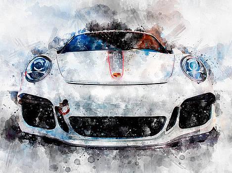 Porsche Watercolor by Michael Colgate