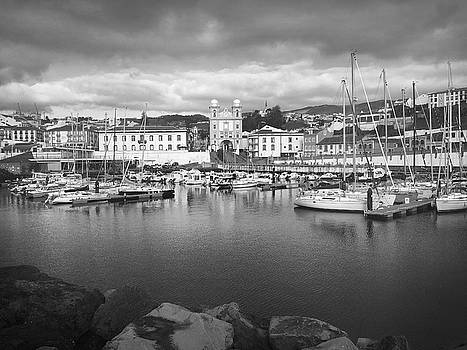 Port of Angra do Heroismo, Terceira Island, The Azores in Black and White by Kelly Hazel
