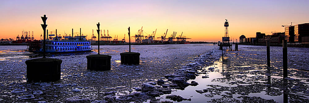 Port of Hamburg winter sunset by Marc Huebner