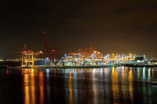 Port of Vancouver BC at Night by David Gn