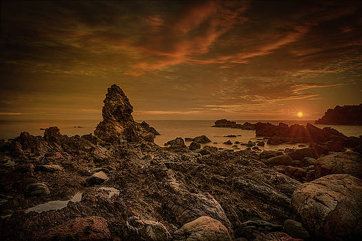 Porth Saint Beach at Sunset. by Andy Astbury