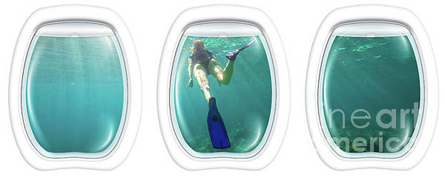 Porthole windows on coral reef by Benny Marty