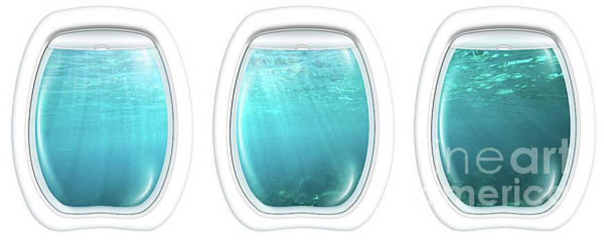 Porthole windows on underwater by Benny Marty