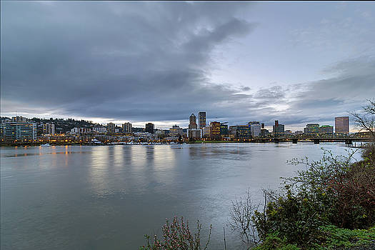 Portland City Downtown Cityscape during Evening by David Gn