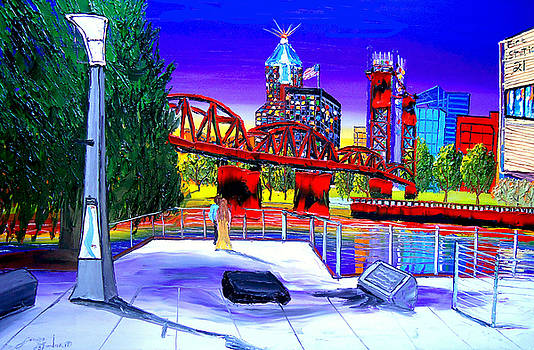 Portland City Lights 62 Over Fire Station #21 by Portland Art Creations