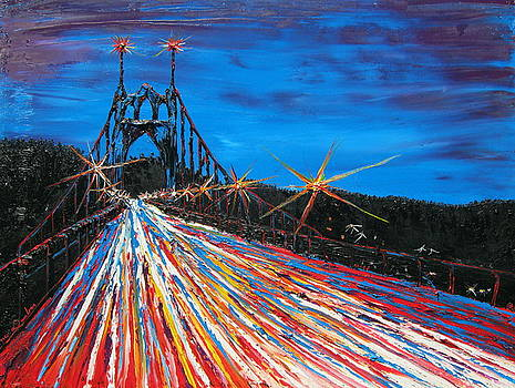 Portland City Lights Over St. Johns Bridge 1 by Portland Art Creations