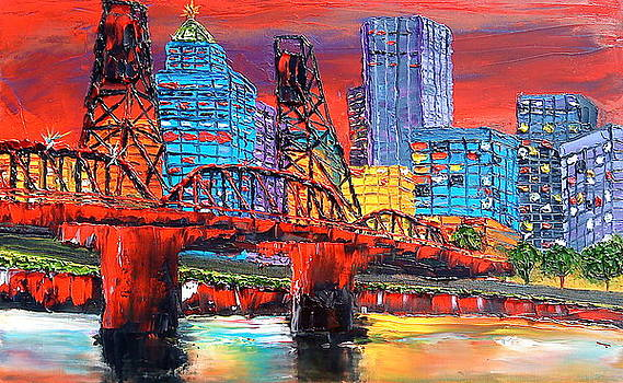 Portland City Lights Over The Hawthorne Bridge by Portland Art Creations