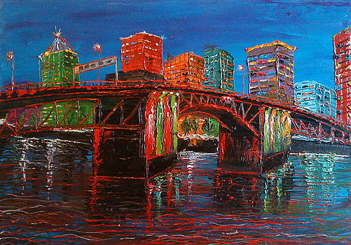 Portland City Lights Over The Morrison Bridge by Portland Art Creations
