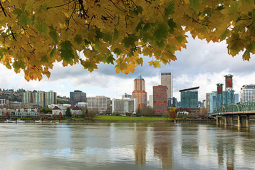 Portland City Skyline Under Fall Foliage by David Gn