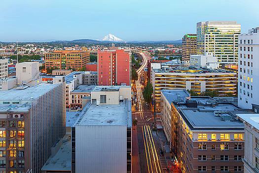 Portland Cityscape along Morrison Bridge by David Gn