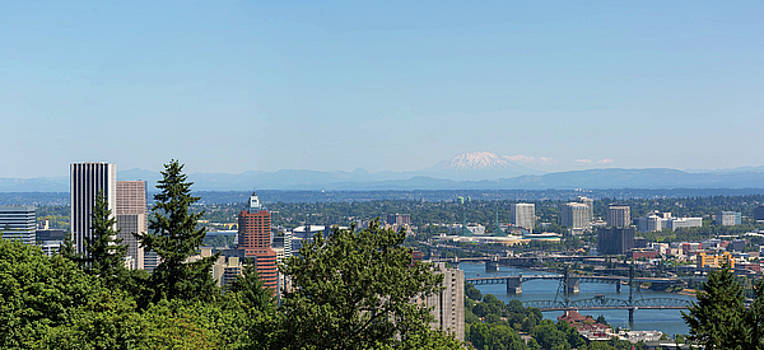 Portland Cityscape and Bridges on a Clear Blue Day by David Gn