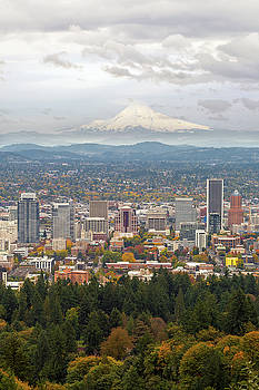Portland Cityscape and Mount Hood in Fall by Jit Lim