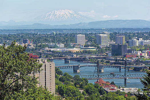 Portland Cityscape with Mount Saint Helens View by David Gn