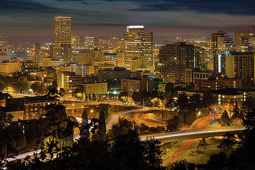 Portland Downtown Cityscape and Freeway at Night by David Gn