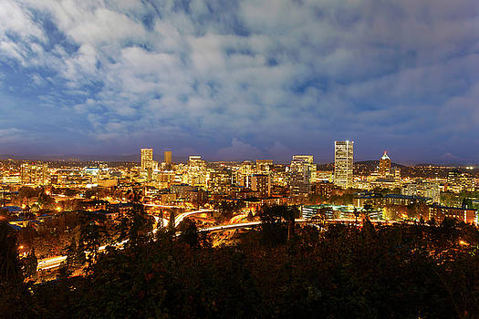 Portland Downtown Cityscape at Blue Hour by David Gn
