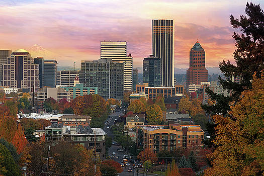Portland Downtown Cityscape During Sunrise in Fall by David Gn