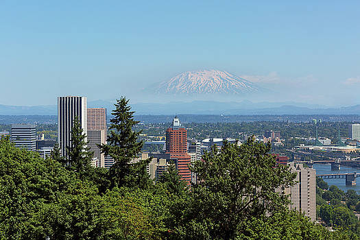 Portland Downtown Cityscape with Mount Saint Helens View by David Gn