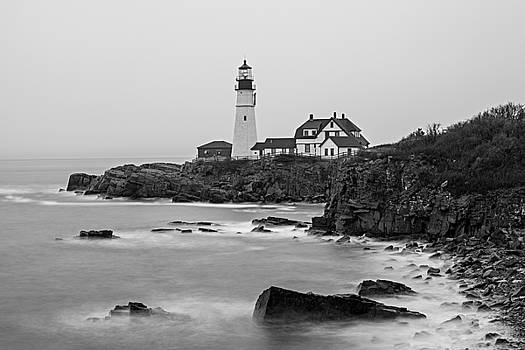 Portland Head Lighthouse foggy morning Black and White by David Smith