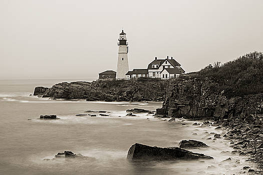 Portland Head Lighthouse foggy morning Sepia by David Smith