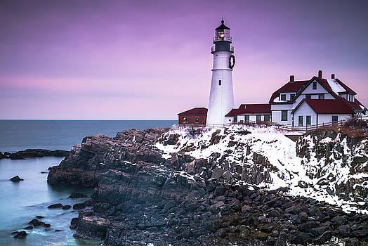 Ranjay Mitra - Maine Portland Headlight Lighthouse in Winter Snow