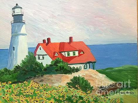 Portland Headlight with Brown Eyed Susans by Stella Sherman
