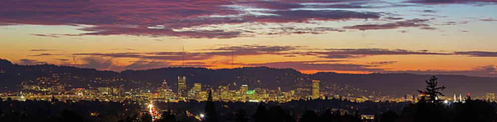 Portland Oregon City Skyline Sunset Panorama by David Gn