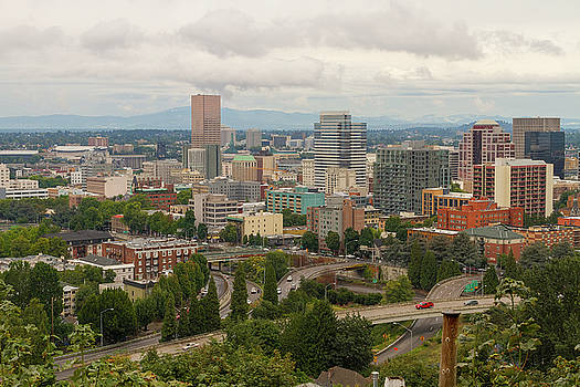 Portland Oregon Downtown Cityscape by Freeway by David Gn