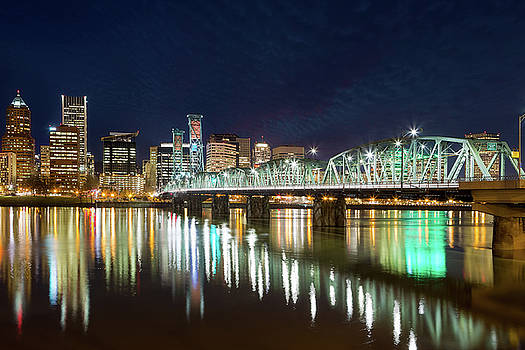 Portland Skyline by Hawthorne Bridge at Night by David Gn
