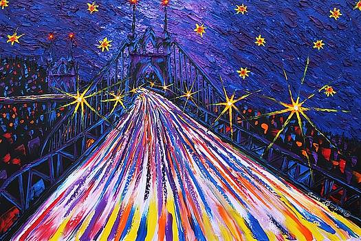 Portland Starry Night Over St. John's Bridge #1 by Portland Art Creations