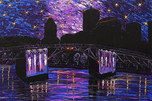 Portland Stary Night Over Morrison Bridge #1 by Portland Art Creations