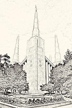Portland Temple Sketch by Misty Alger