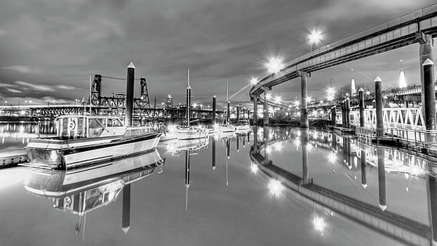 Portland Waterfront Overpass and Boats by Dustin K Ryan