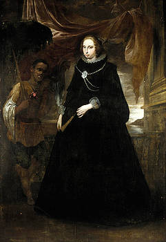 Attributed to Giovanni Bernardo Carbone - Portrait of a Lady Full length holding a fan  with her Moorish Attendant holding a Parasole