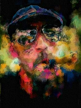 Portrait of a man in sunglass smoking a cigar in the sunshine wearing a hat and riding a motorcycle in pink green yellow black blue oil paint with raking light to pick up paint texture by MendyZ