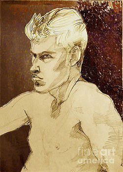 Portrait of a Young Man with strong profile by Greta Corens