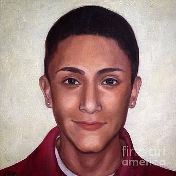Portrait of a teenage boy by Jindra Noewi