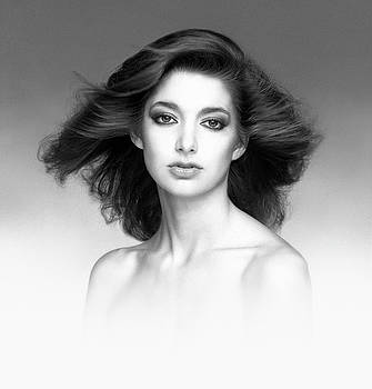 James Vaughan - Portrait of Amy - black and white - blowing hair