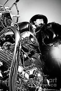 Dimitar Hristov - Portrait of biker man sitting on motorcycle - black and white