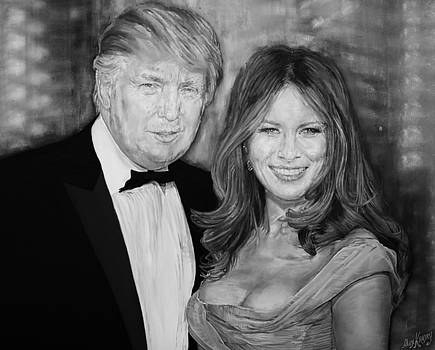 Portrait of Donald Trump and his wife by Alex Krasky