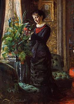 Zorn Anders - Portrait Of Fru Lisen Samson Nee Hirsch Arranging Flowers At A Window 1881